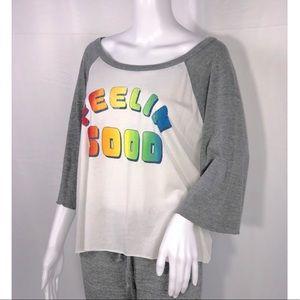 Chaser White w/Gray Sleeves Rainbow FeelinGood Tee